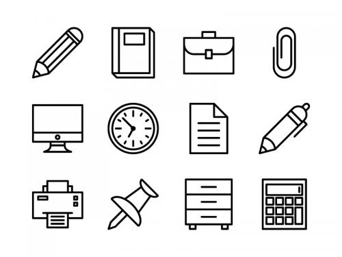 Office Icon Set Outline - office-icon-set-outline
