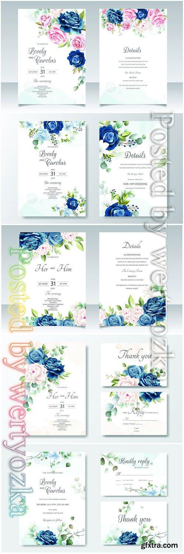 Wedding beautiful floral invitation vector card