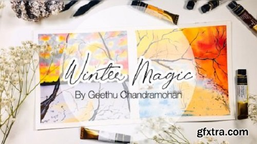 Dramatic Winter Paintings with Watercolors