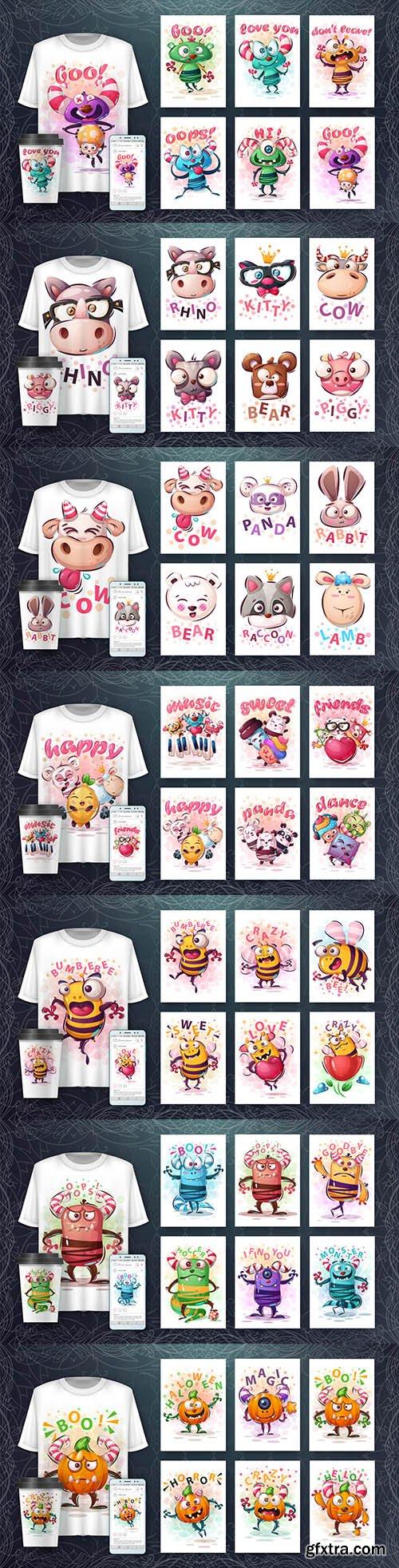 Funny illustration and merchandising mockup print t-shirt 4