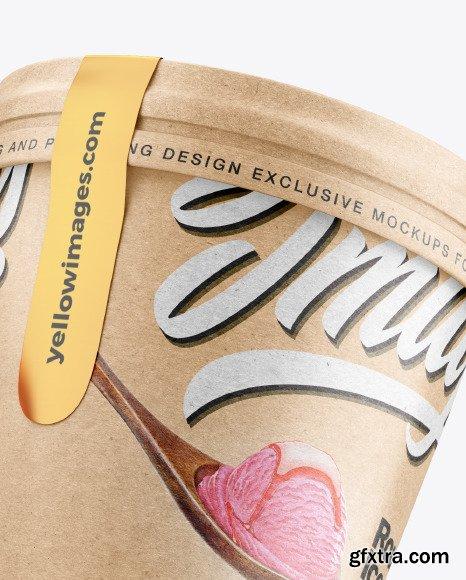 Two Kraft Ice Cream Cups Mockup 54741