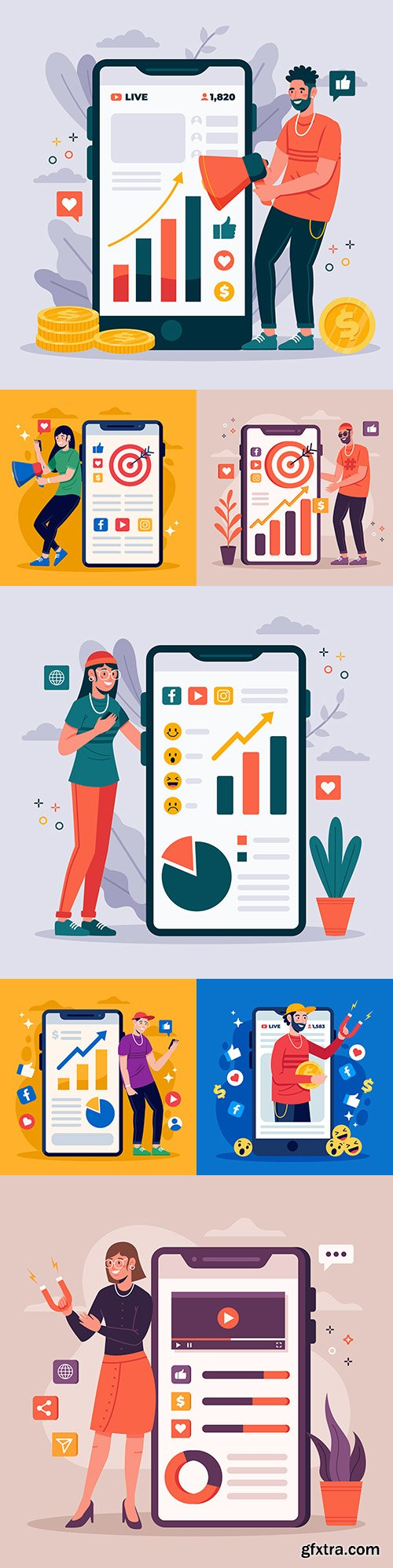 Phone marketing on social media flat design