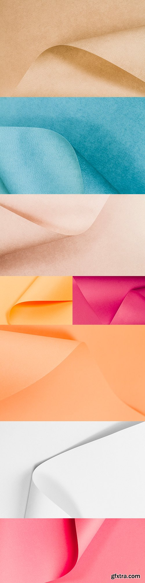 Colored paper collapsed page texture collection