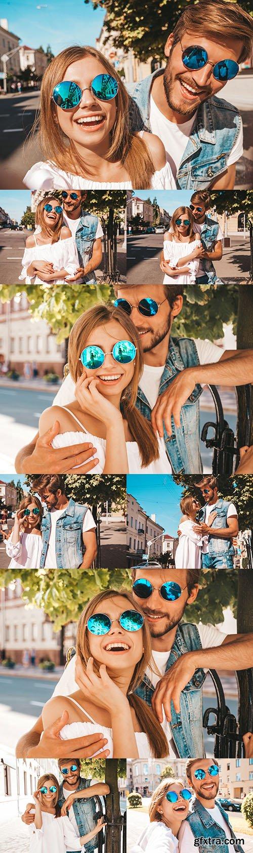 Smile romantic beautiful girl and boyfriend
