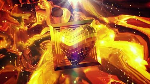 Videohive - Disco Vj Golden Heart 4k