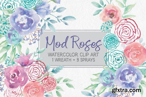 "Watercolor Wreath of ""Mod"" Roses"