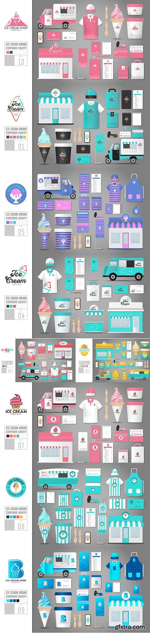 Corporate Identity Template Ice Cream Shop Vector Set