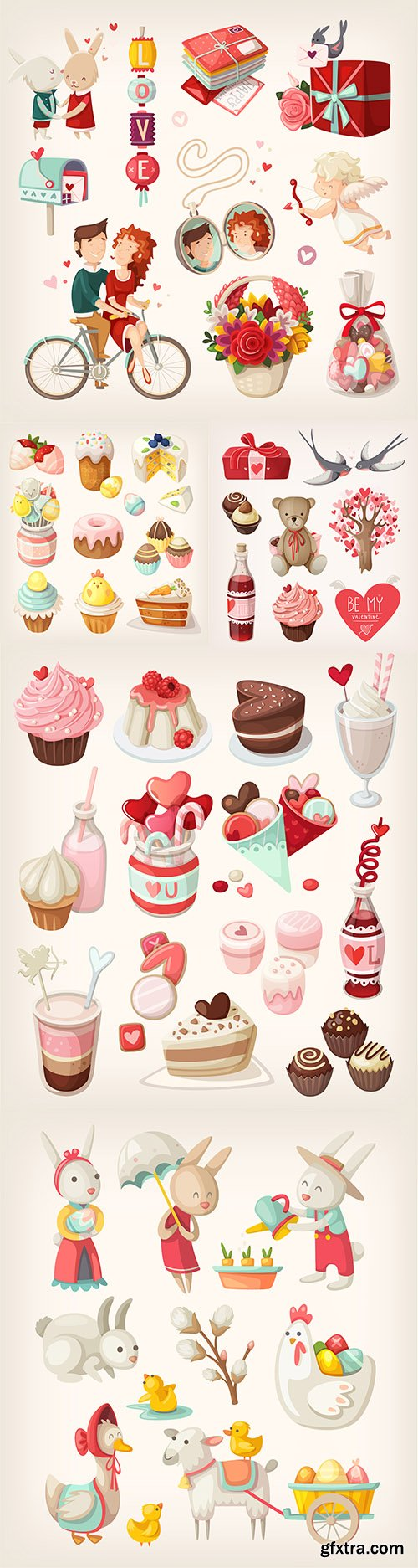 Easter characters and romantic objects colection icons