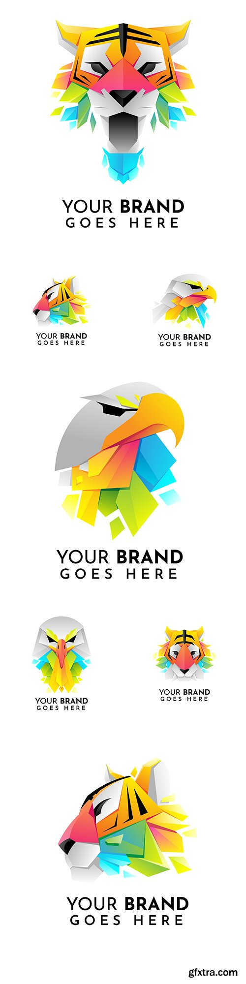 Eagle and tiger bright design logo illustration