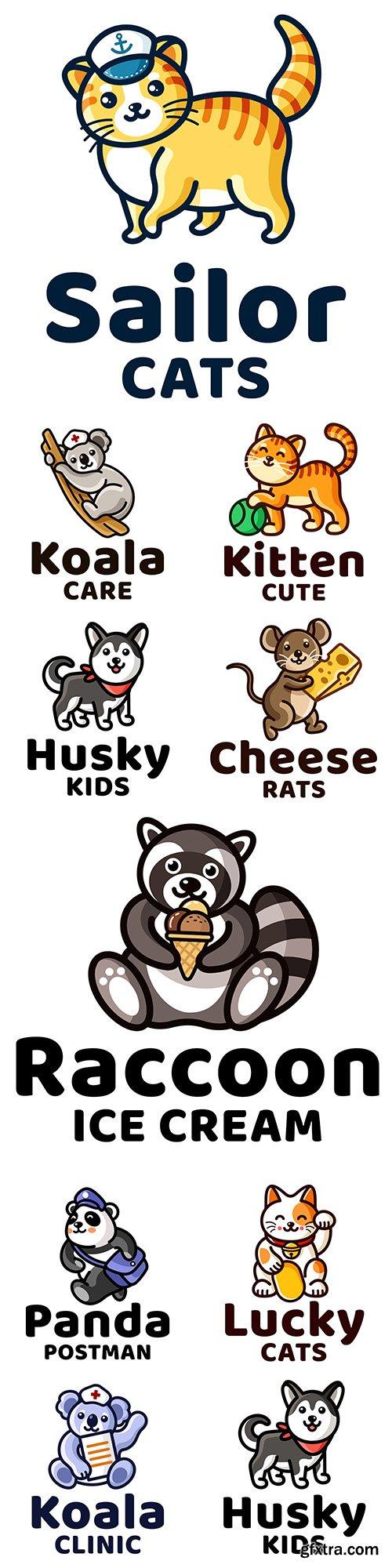 Fun animal design logo template for children