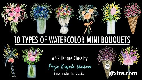 10 Types of Watercolor Mini Bouquets - the joy of painting small illustrations!