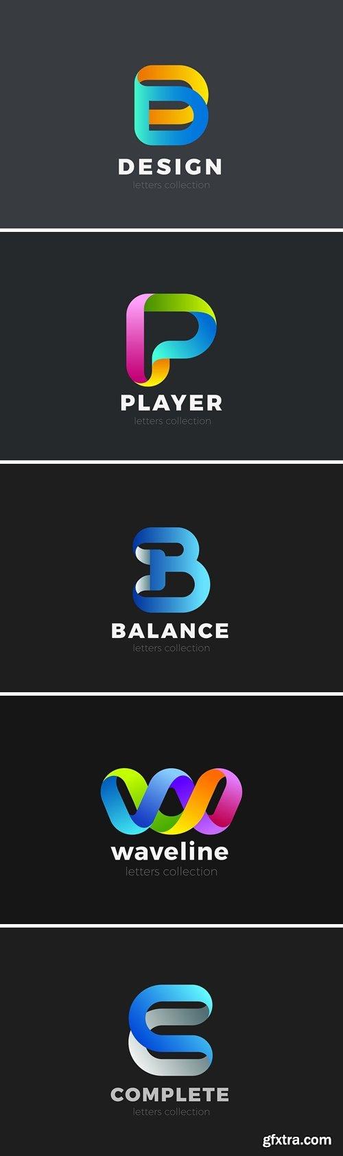 Letter Logo design 3D Ribbon style