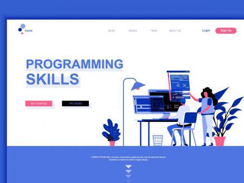 Programming Skills Flat Landing Page Template - programming-skills-flat-landing-page-template