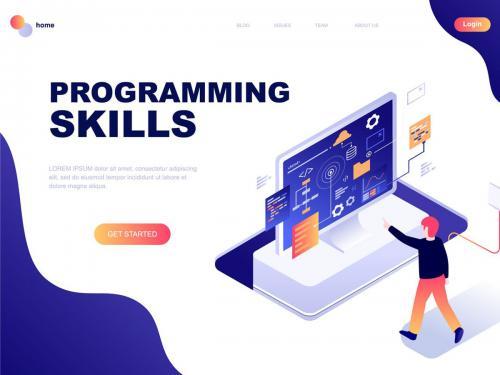 Programming Skills Isometric Landing Page Template - programming-skills-isometric-landing-page-template
