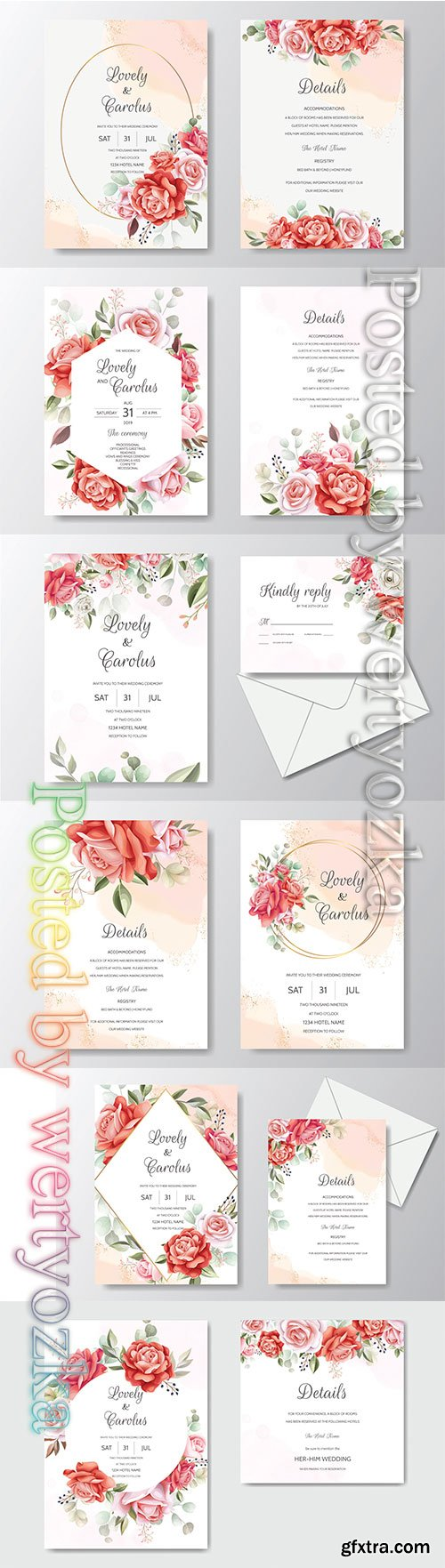 Beautiful floral wreath wedding invitation card template # 5