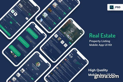 Real Estate & Property Mobile App Dark Version