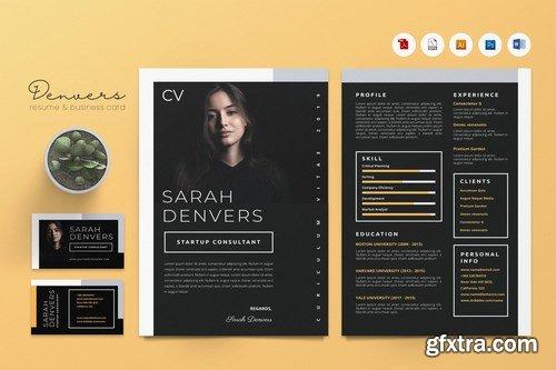 Creative CV Resume & Name Card Pack PSD, DOCX, AI