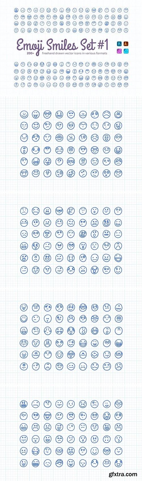 Freehand Drawn Emoji Smiles Set #1
