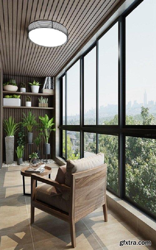 Modern Balcony / Garden 04