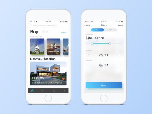 Real Estate App UI for Sketch - real-estate-app-ui-for-sketch