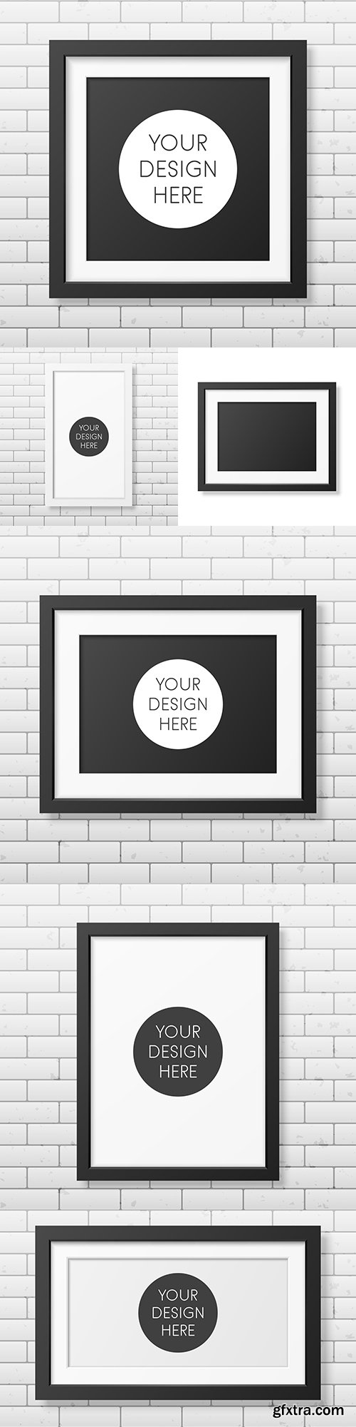 Realistic square black frame on brick wall template