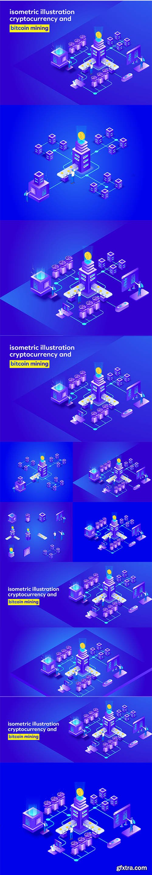bitcoin mining isometric illustration