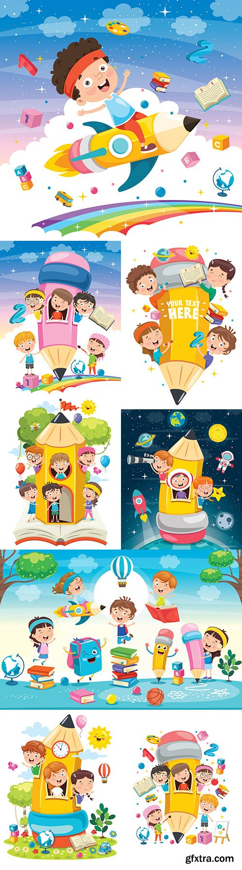 Cute kids play collection illustrations in pencil house