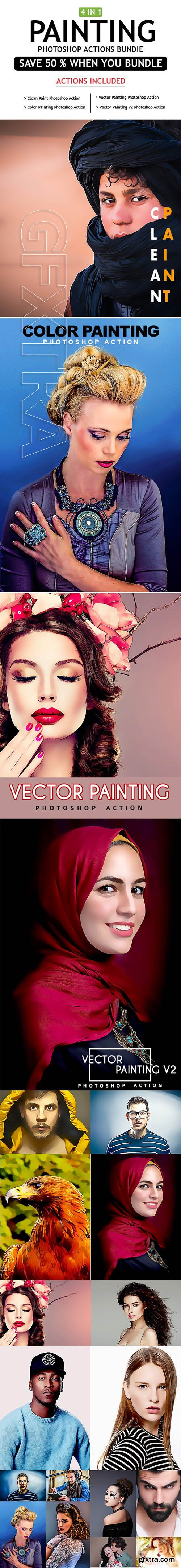 GraphicRiver - Painting 4 IN 1 Photoshop Actions Bundle 25490966