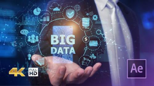 Videohive - Businessman Open Hand Big Data