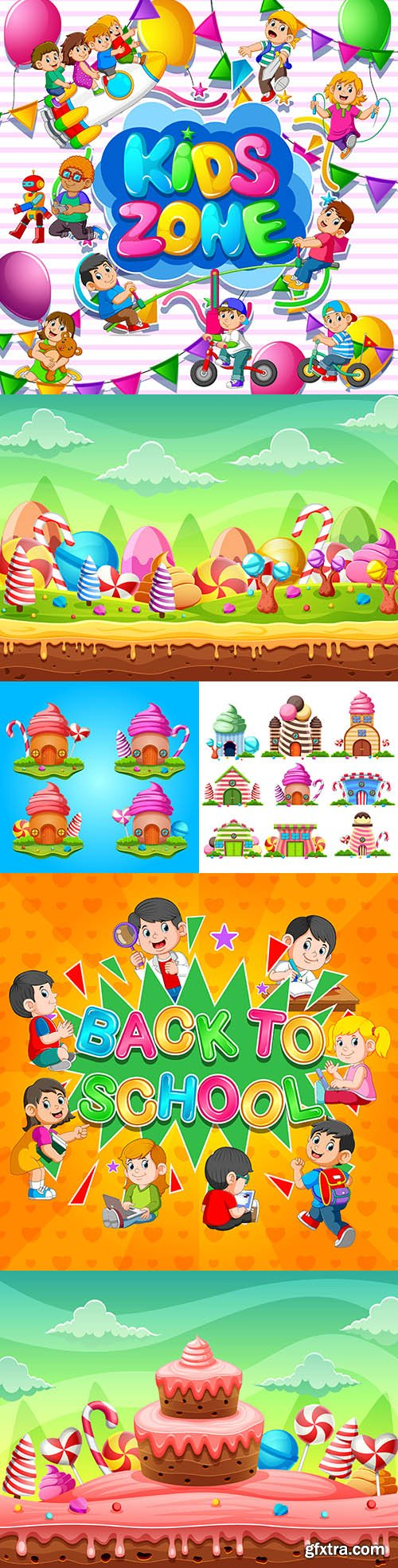 Kids zone for children and fabulous world illustration