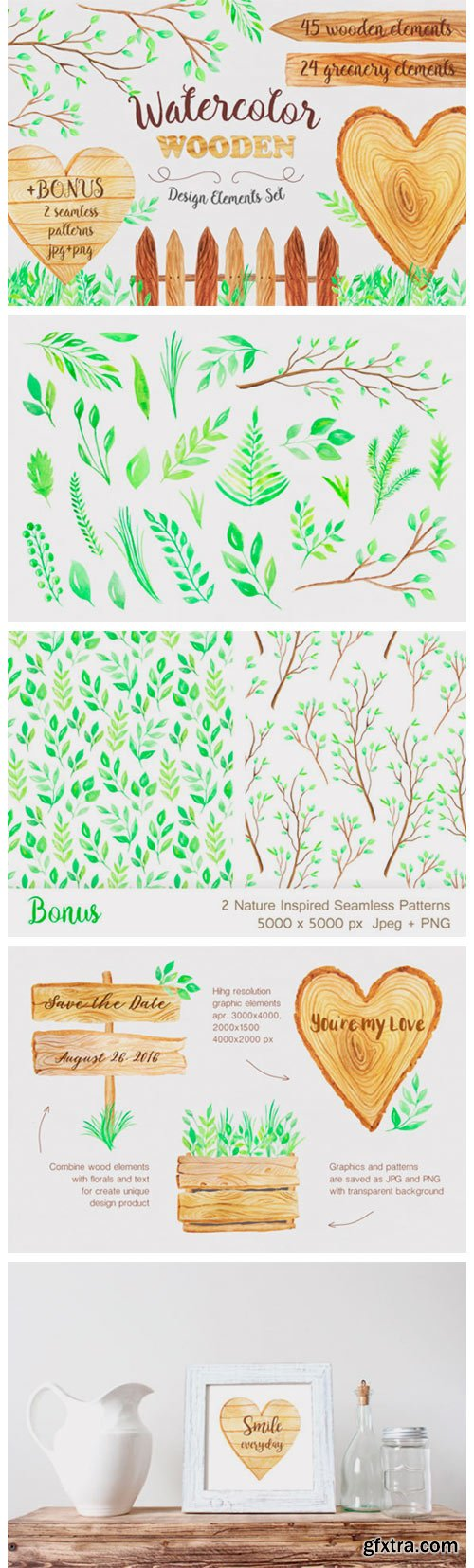 Watercolor Wooden Design Set 2644059