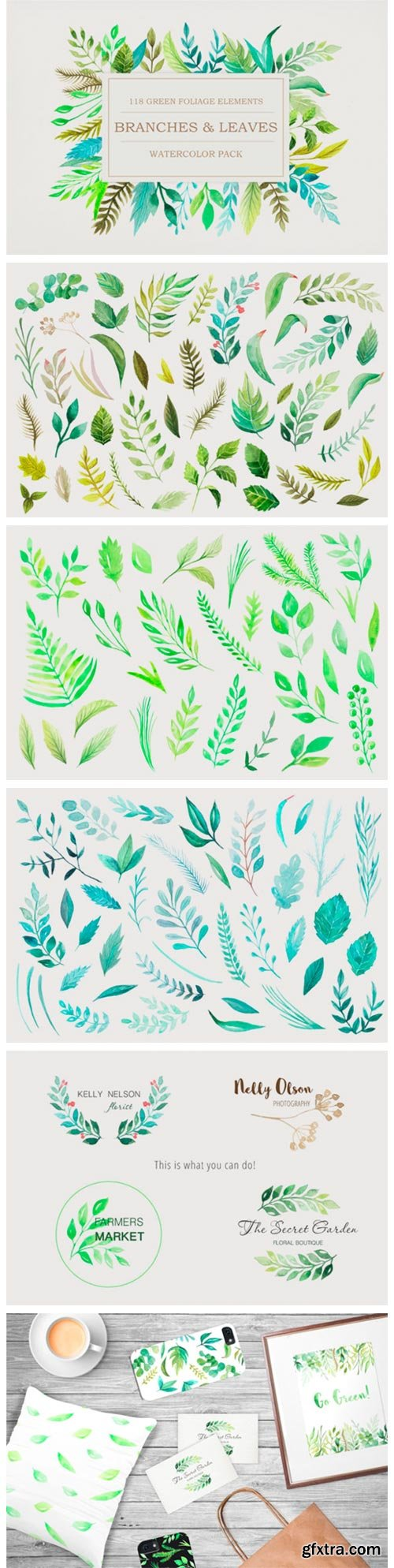 Watercolor Green Elements Pack 2646960