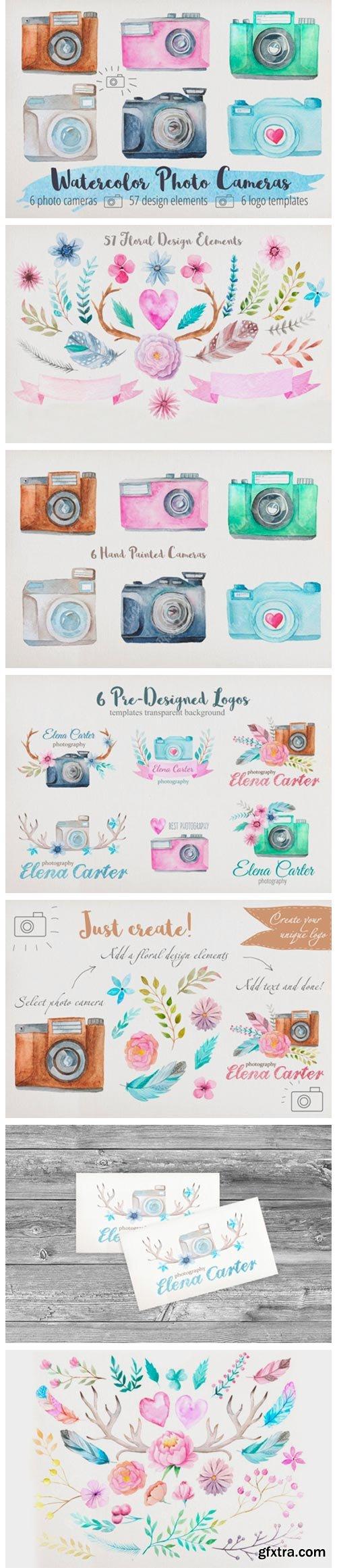Watercolor Cameras Clip Art 2643521