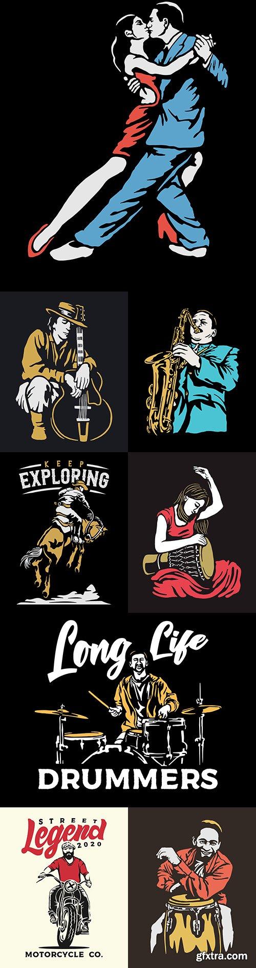 Musician vintage vector design illustrations