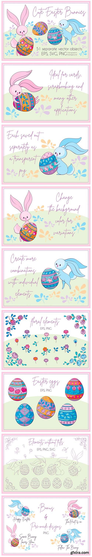 Cute Easter Bunnies. Vector Clip Arts 2642342