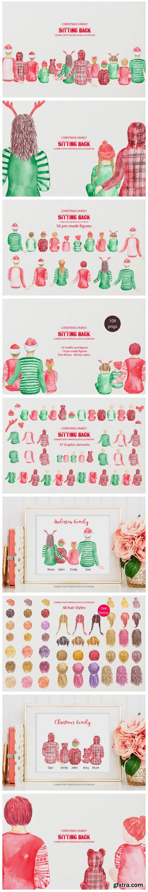 Watercolor Illustration Christmas Family 2643120