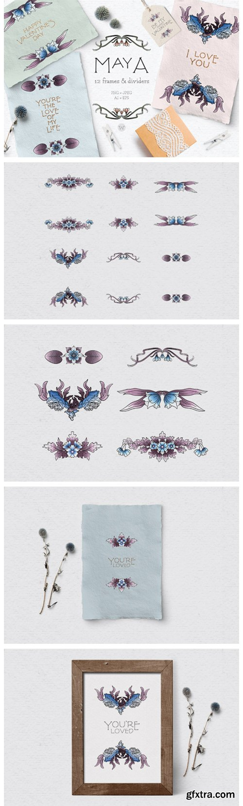 Blue Vintage Floral Dividers 2641026