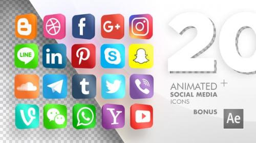 Videohive - 20 Animated Social Media Icons