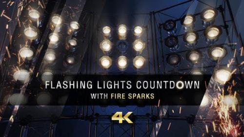 Videohive - Flashing Lights Countdown With Fire Sparks