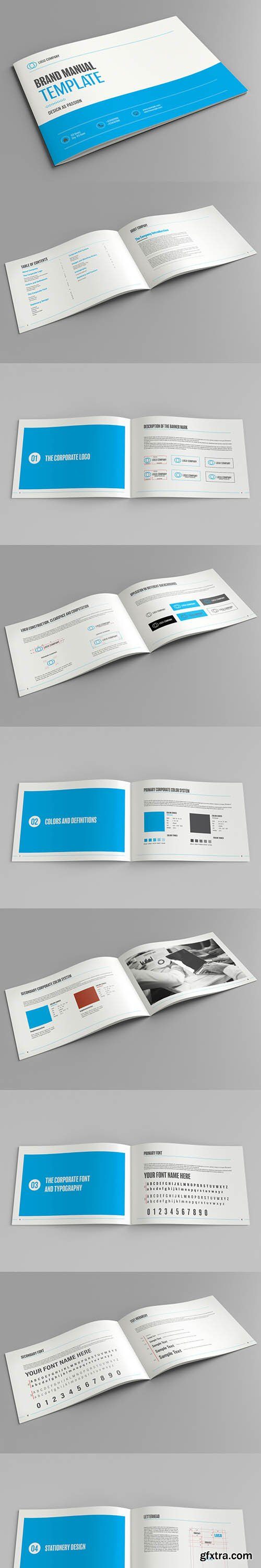 Brand Manual Layout with Blue Accents 185282615