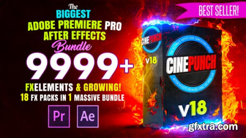 Videohive CINEPUNCH - Transitions I Color LUTs I Pro Sound FX I 9999+ VFX Elements Bundle V18 20601772