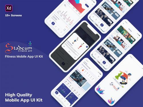 Stadeum-Fitness Mobile App UI Kit (Adobe XD) - stadeum-fitness-mobile-app-ui-kit-adobe-xd
