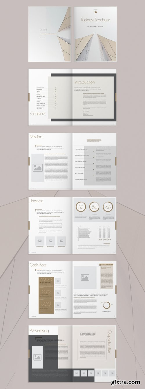 Brochure with Blue and Tan Accents 274118416