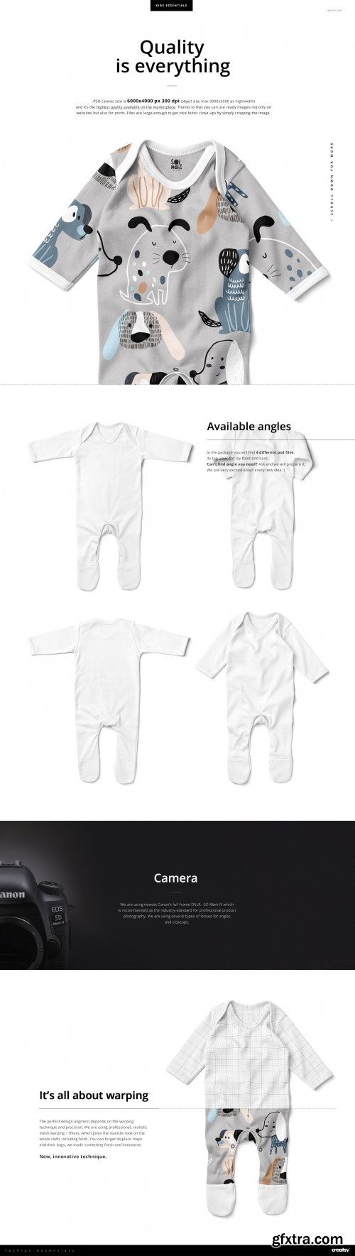 CreativeMarket - Baby Chest Rompersuit Mockup Set 4434711