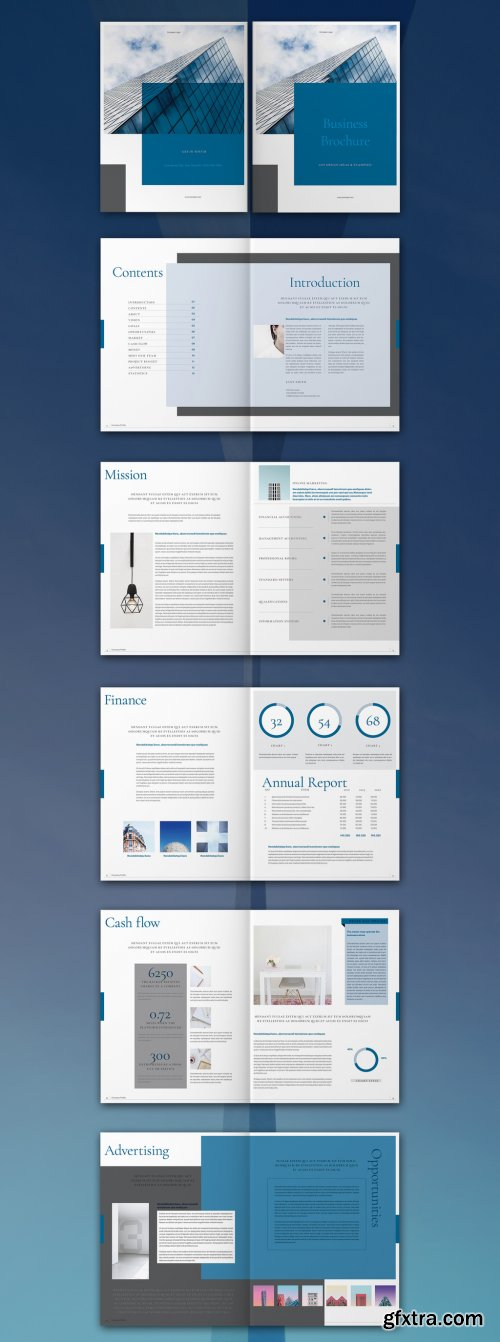 Blue and White Brochure Layout 315954946