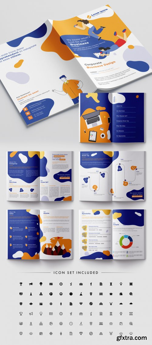 Bright Brochure Layout with Vector Character Illustrations 316003068