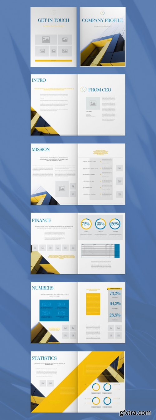 Company Profile Layout with Blue and Orange Accents 274307655