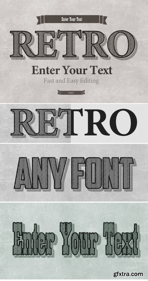 Retro Striped Shadow Print Text Effect Mockup 316244600