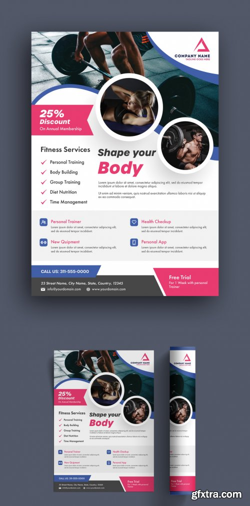 Flyer Layout with Purple and Pink Accents 315762371