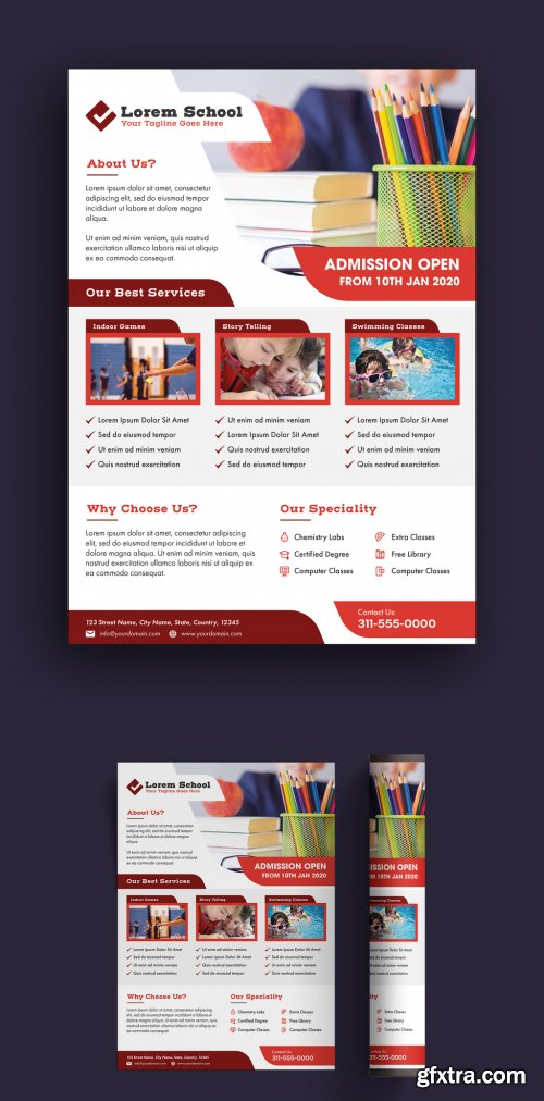 Flyer Layout with Red Accents 315765545